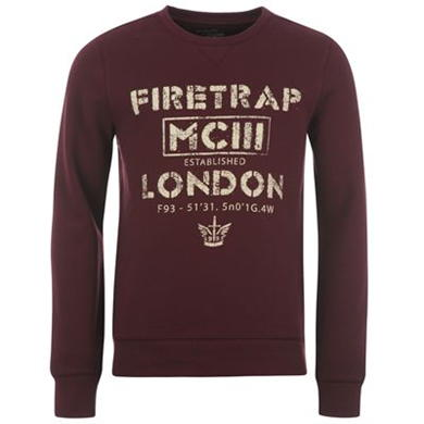 Купить Firetrap Printed Crew Neck Top Mens  за рублей