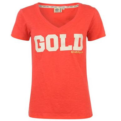 Купить Golddigga Glitter V Neck T Shirt Ladies 1650.00 за рублей