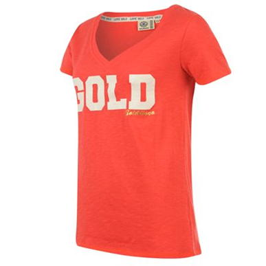 Купить Golddigga Glitter V Neck T Shirt Ladies  за рублей